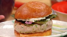 Rachael Ray's Tuna Burgers with  (made with fresh tuna and a topping of toasted nori and wasabi aioli or creme fraiche)