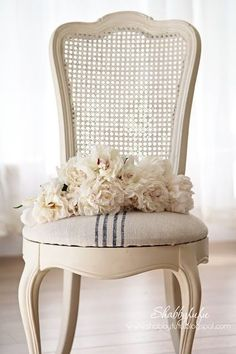 A Thing For French Chairs…Redeux How to easily reupholster a French caned chair with ticking stripe fabric French Country Farmhouse, French Country Bedrooms, French Country Style, Farmhouse Style, Rustic French, French Country Kitchen Decor, French Country Fabric, Modern Country, Rustic Style