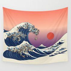Cartoon Sea Waves Art Hanging Wall Hippie Tapestry Home Decor Yoga Beach Towel