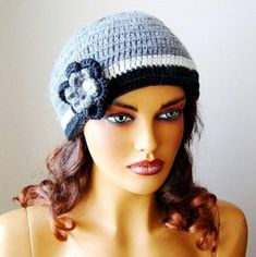 Crochet Gray Hat Gray Women Beanie Knit Gray Beanie by RoseAndKnit - Towel Crochet Accessories, Hair Accessories, Girl Beanie, Beanie Hats, Buy Clothes Online, Grey Hat, Hat Hairstyles, Floral Kimono, Pretty And Cute
