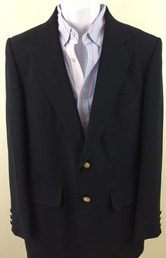 Men's Classic Stafford Blazer 40R Black 2 gold buttons polyester wool blend #Stafford #TwoButton