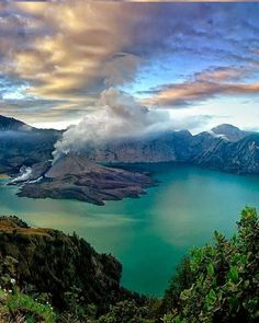 Gunung Rinjani National Park is located on the island of Lombok, Indonesia in the North Lombok Regency.