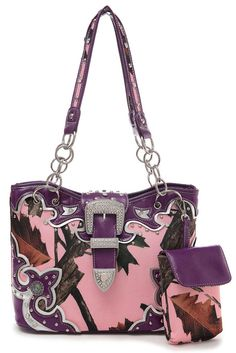 Pink Camouflage Print Center Belt Accented Double Handle Tote Bag #GetEverythingElse #TotesShoppers