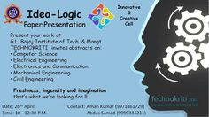 Brush-up your brains and register...  Registration fee: Rs 50 (Individual) For a team Rs 100 (max 4) Interested candidates inbox me your details with contact number. Submit your abstract before 24th..