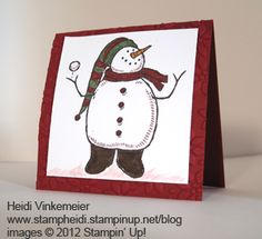 Snow Much Fun! Mini card  is a fun gift topper or greeting card all by itself.  You can order yours today for $2.50 each. www.stampheidi.stampinup.net