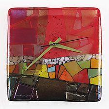 "Border Town Art Glass Clock by Nina  Cambron (Art Glass Clock) (8"" x 8"")"