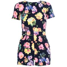 Quiz Navy Floral Print Zip Back Playsuit ($25) ❤ liked on Polyvore featuring jumpsuits, rompers, dresses, playsuits, romper, clearance, navy, navy rompers, summer romper and floral print romper
