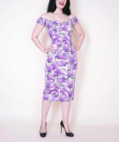 Love this Bernie Dexter Lilac Floral Off-Shoulder Dress - Plus Too by Bernie Dexter on #zulily! #zulilyfinds