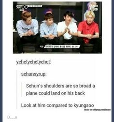 Awww, poor Kyungsoo is meant to have the power of strength,  but he looks so weak compared to Sehun!