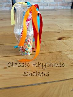 Adorable classic rice shakers! Love adding the ribbon to add in learning about rhythm for preschoolers.