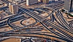 Highway Intersection with Sheikh Zayed Road in Dubai, U.A.E. - photo by Miemo Penttine, via Fine Art America