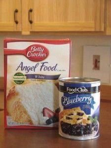 2 ingredient cake  M  2 ingredient cake  M  2 ingredient cake  Mix together, 1 Angel Food cake mix (dry) and 1, 20 or 22 ounce can of fruit pie filling. That's it!  Bake in an ungreased  9x13 pan at 350 for 28-30 minutes.  It will puff up.