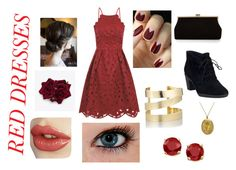 """""""Pretty Red Dress"""" by whofrog ❤ liked on Polyvore featuring Chi Chi, Clarks, Monsoon, Lord & Taylor, Étoile Isabel Marant, women's clothing, women, female, woman and misses"""