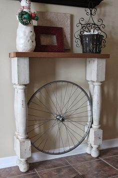 Reinvented   The Bicycle Wheel Foyer Table - Reinvented