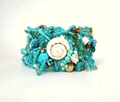Turquoise bracelet Beaded cuff bracelet Seed bead by ibics