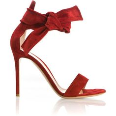 Gianvito Rossi Red Suede Sandals (6.040 NOK) ❤ liked on Polyvore featuring shoes, sandals, suede sandals, high heel sandals, gianvito rossi, self tying shoes and red shoes