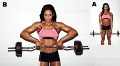 """5 Moves for Strong, Sexy Shoulders. ez bar upright row rear delt flye side plank with a """"t"""" raise dumbbell """"L"""" raise overhead dumbbell reciprocating press"""