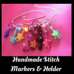 STITCH Markers hand made. Set of 8 coloured stars and beads with 6-10mm rings. by MagpieLaneCrafts on Etsy
