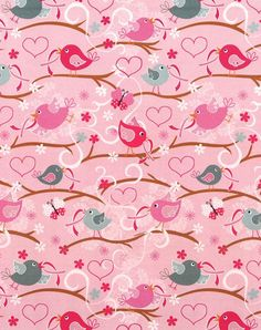 Novelty Cotton Fabric- Birds With Pink Ribbon