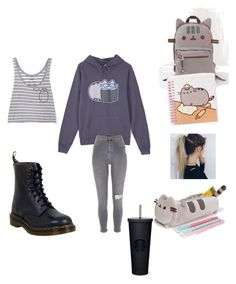 """""""#PVxPusheen"""" by astridkitkat on Polyvore featuring Pusheen, River Island, Dr. Martens, Capelli New York, contestentry and PVxPusheen"""