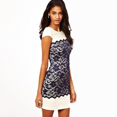 JLZZ Vintage Women's White & Navy Lace Sleeveless Mini Pencil Dress