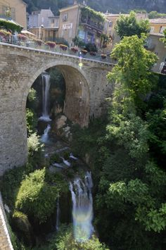 Moustiers-Sainte-Marie, France. Rode my bike there last June. There is a gold star that hangs high above the village. It looks like a Christmas card...