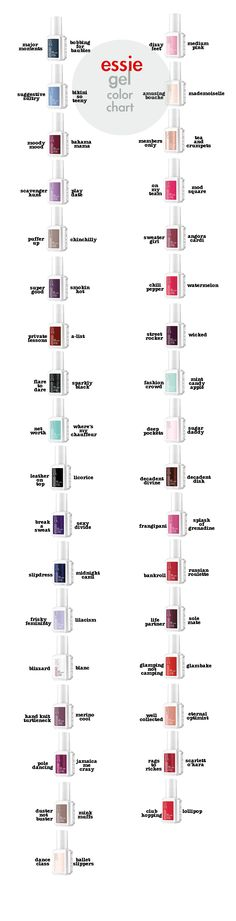 Essie Gel colors and their match with original colors! Can't wait for my essie gel mani! Essie Gel, Essie Nail Polish, Nail Polish Colors, Color Nails, Gel Polish, Gel Nail Art, Gel Nails, Shellac, Trendy Nails