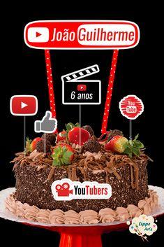 10th Birthday, Birthday Cake, Birthday Parties, Youtube Party, Bolo Youtube, Birthday Decorations, Party Themes, Chocolate, Christmas Ornaments