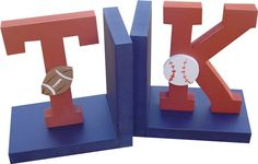 Varsity Initial Bookends, perfect for a sports room! These could easily be a DIY project with items from Hobby Lobby