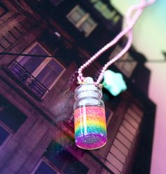 Rainbow In A Bottle Necklace. $22.00, via Etsy.