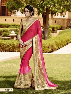 Pink Georgette Saree With Embroidery Work #bandbaajaa.com #bandbaajaa #weddingsarees #weddingsaris #bridalsarees #bridalsaris #designersarees #designersaris #sarees #saris #weddingwear #weddingshopping