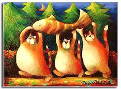 Art by Raija Nokkala Crazy Cat Lady, Crazy Cats, Funny Art, Mythical Creatures, Cat Art, Printmaking, Images, Cat Illustrations, Carving