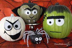 no-carve #DIY monster #pumpkins for #halloween on www.CherylStyle.com