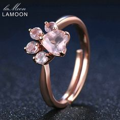 LAMOON Shadow Bear's Paw Natural Pink Rose Quartz Ring 925 Sterling Silver Fine Jewelry Rose Gold Romantic Wedding Bands Rings