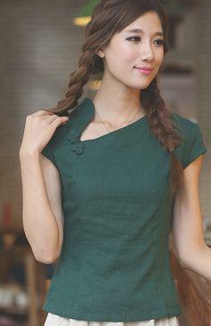 Silk Kurti Designs, Kurti Designs Party Wear, Blouse Designs, Myanmar Traditional Dress, Traditional Dresses, Cheongsam Modern, Chinese Shirt, Days Hotel, Baby Girl Tops