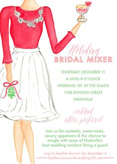 Join us on December 11th from 6:00 to 8:00 pm for light appetizers, sweet treats, and the chance to mingle with some of the BEST wedding vendors! This event is FREE for brides (and you can bring one guest too)! R.S.V.P with your wedding date to Heather Burrow at heather.burrow@wedding101.net #w101nashville #freebrideevent #holidaybridemixer2014 #holidayparty
