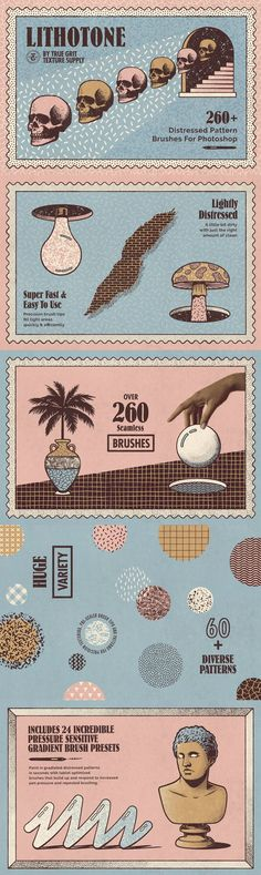 TAKE A DIGITAL TRIP BACK TO THE 70'S WHEN LETRASET DRY-TRANSFER PATTERN STENCILS WERE THE TOOL OF CHOICE FOR ZINE MAKERS AND LO-FI ARTISTS EVERYWHERE.Featuring over 260 Brush Presets and 60 distressed pattern textures The Lithotone Distressed Pattern Brush Set features a diverse selection of original pro-quality patterns that repeat endlessly for seamless application onto any artwork.