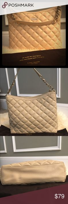 Kate Spade shoulder bag Beautiful beige shoulder bag approximately 11 x 13 with 9 inch shoulder drop 100% authentic clean inside and out no scratches no stains worn maybe 5 times. Includes original  dust bag kate spade Bags Shoulder Bags