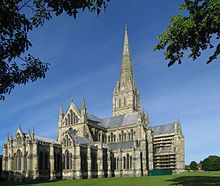Salisbury Cathedral, formally known as the Cathedral Church of the Blessed Virgin Mary, is an Anglican cathedral in Salisbury, England, and is considered one of the leading examples of Early English architecture Anglican Cathedral, Cathedral Church, Anglican Church, English Architecture, Gothic Architecture, Salisbury England, Salisbury Wiltshire, Salisbury Cathedral, Art Français