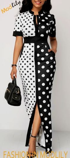 Polka Dot Print Front Slit Maxi Dress On Sale. Shop cheap and special maxi dress at Modlily! Action now!