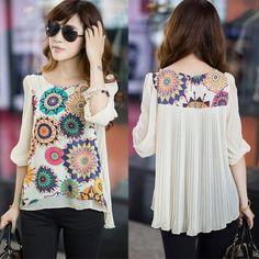 Hot Summer New Women Half Sleeve Blouse Back Pleats Retro Print Chiffon Shirt Tops