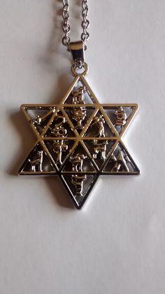 Twelve Tribes of Israel Symbols / Star of David Necklace.