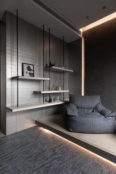 Condominium Interior, Residential Interior Design, Modern Interior Design, Interior Architecture, Modern Furniture, Furniture Design, Classy Living Room, Shelf Design, Master Bedroom Design
