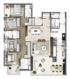 Small House Floor Plans, Dream House Plans, Modern House Plans, Apartment Layout, Apartment Design, Home Room Design, House Design, Apartment Floor Plans, 3d Home