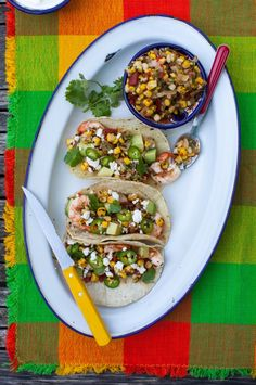The charred corn salsa was amazing. grilled shrimp tacos with charred corn salsa Grilling Recipes, Seafood Recipes, Mexican Food Recipes, Cooking Recipes, Healthy Recipes, Ethnic Recipes, Easy Recipes, Sauce Recipes, Mango Avocado Salsa