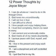 12 Power Thoughts by Joyce Meyer #inspiration