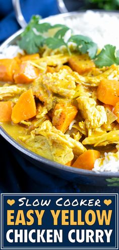 Slow Cooker Chicken Curry is made with coconut milk, chicken breasts, an easy curry powder seasoning blend and sweet potatoes.  This Crock-Pot Indian curry is healthy, dairy-free, and gluten-free.  It makes a quick and easy weeknight dinner when served with rice. #slowcooker #crockpot #chicken #curry