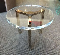 Pair of Lucite and Nickel Side Tables by Charles Hollis Jones   From a unique collection of antique and modern side tables at https://www.1stdibs.com/furniture/tables/side-tables/
