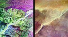 This pair of images from space shows a portion of the southern Empty Quarter of the Arabian Peninsula in the country of Oman. On the left is a radar image of the region around the site of the fabled Lost City of Ubar. On the right is an enhanced optical image taken by astronauts onboard the Space Shuttle. Credit: NASA/JPL.
