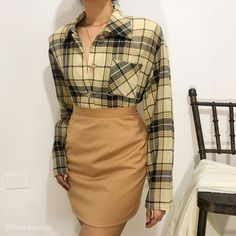 Vintage Tops, Button Up, February, Two Piece Skirt Set, Plaid, Yellow, Dresses, Fashion, Gingham